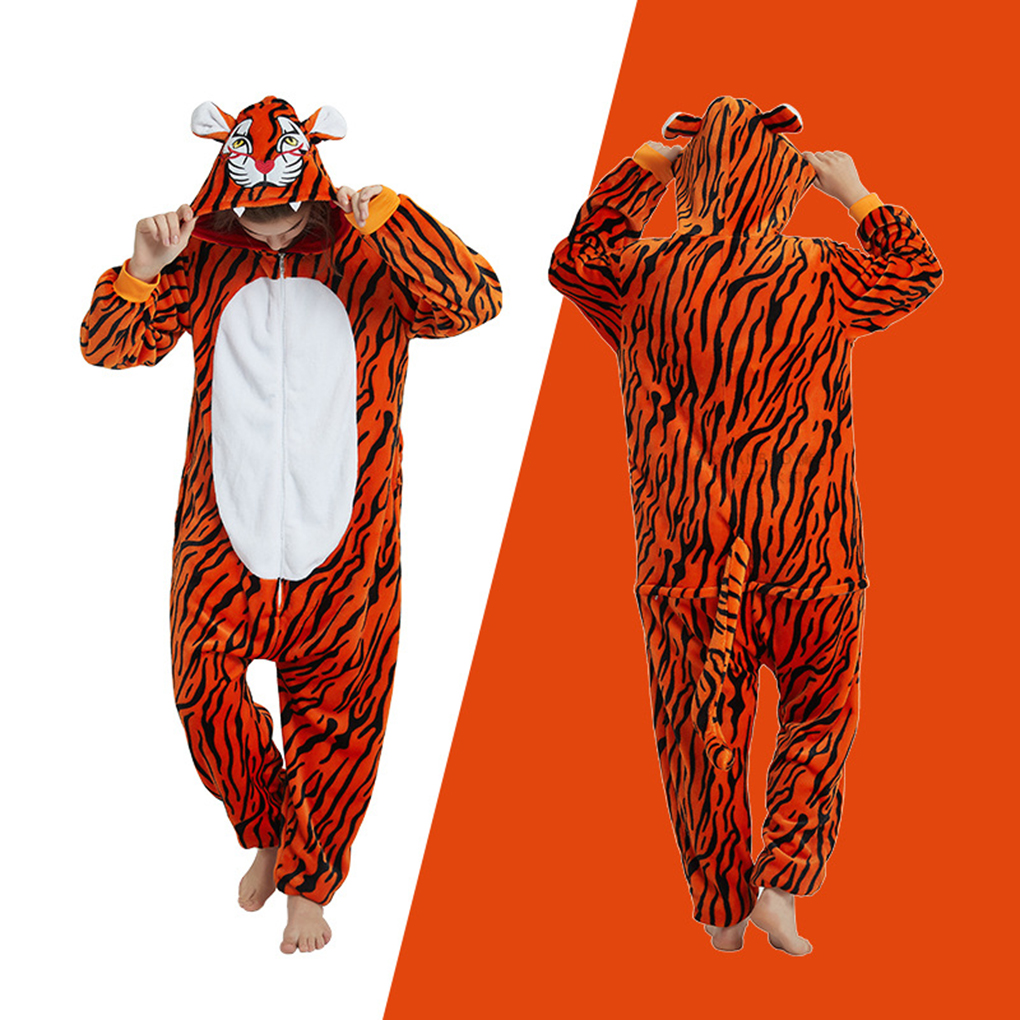 Tiger Animal Adult Onesie Animal Pajamas Unisex Halloween Cosplay Costume Loungewear Jumpsuit Hoodies Sleepwear For Adults
