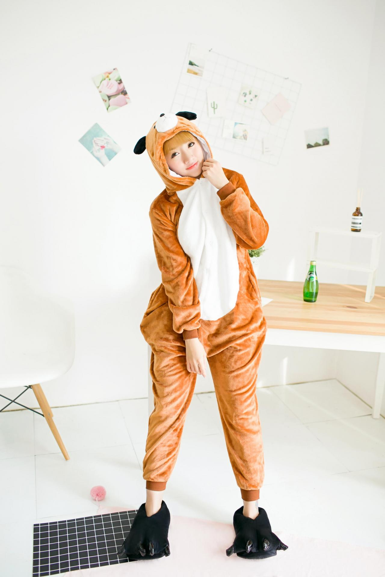 Brown Dog Pajamas Unisex Animal Onesie Adult Halloween Pajamas Cosplay Costume Sleeping Pajamas Loungewear