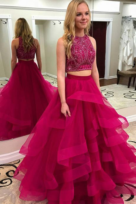 Prom Dresses 2 Pieces,Prom Dresses Long,Prom Gowns Aline,Prom Gowns Tulle Beaded,Evening Dresses Sleeveless,Evening Gowns for Women/Juniors,Graduation Dresses